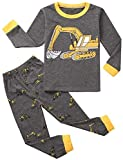 Dannel Baby Boy Printed Tops Leggings Pants Outfits Set for Toddler Kids Long Sleeve Cartoon Car +Pajamas,Gray,1-2T