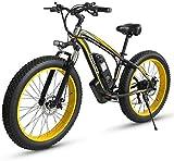 RDJM Bici electrica Eléctrica de Bicicletas de montaña, 500W Motor, 26X4 Pulgadas Fat Tire E-Bici, 48V 15AH batería de 27 velocidades Adultos de la Bicicleta - for Todo Terreno (Color : Yellow)
