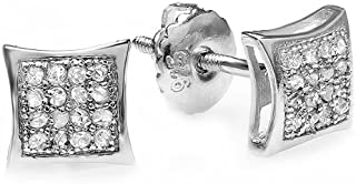 Dazzlingrock Collection 0.05 Carat (ctw) Real Diamond Kite Shape Mens Hip Hop Iced Stud Earrings