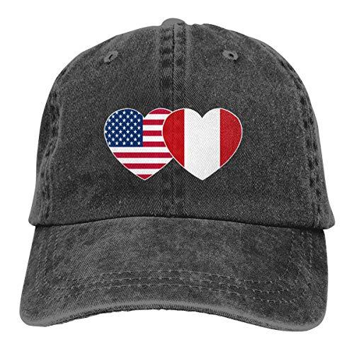 Romaniagh Peru USA Flag Twin Heart Gorra de béisbol Unisex Moda Casquette Glock Sombrero Gorra Ajustable para jóvenes Hombres Mujeres Sombreros Deportivos al Aire Libre