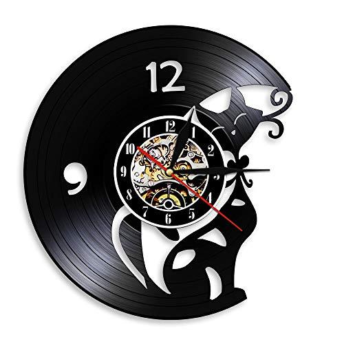 Reloj de Pared con decoración artística de Gato, Reloj de Pared con Disco de Vinilo Exclusivo de Gatito Animal, decoración silenciosa Hecha a Mano para habitación de niños