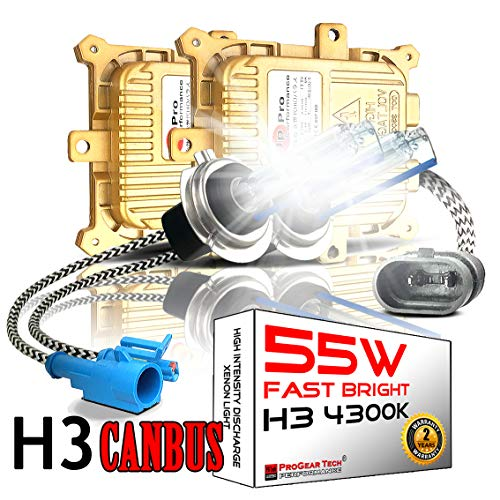 55W H3 4300K Heavy Duty Fast Bright AC HID Xenon Bulbs bundle with AC Digital CANBUS Slim Ballasts No OBC Error for 12V Vehicles (OEM Light Yellow)