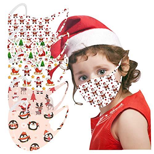 5-Stück Weihnachten Mundschutz Kinder einschulung Baumwolle Cartoon Druck Verstellbarer Hängendes Ohr StaubschutZ, Atmungsaktive Waschbar Half Face Halstuch für Jungen und Mädchen (G)