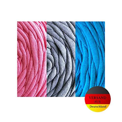 Polarkind Jerseynudeln Tshirtgarn Set rosa grau blau Textilgarn Alternative Schrägband Gummiband Kochfest elastisch Community Behelfsmaske Herstellung 6m
