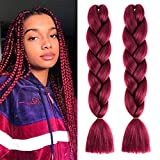 Mychanson 4pcs Wine Red Jumbo Braiding Hair Long Kanekalon Synthetic High Temperature Fiber African Twist Braids Hair Extensions