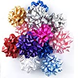 Worlds Assorted Mix Bright Confetti Bows,Gift Wrap Bows-Christmas Ribbon Gift Bows 4' Inch(12 Pack)