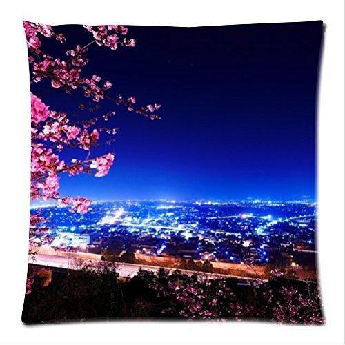Gepersonaliseerde mooie stad nacht scene patroon zachte satijnen bolster case kussensloop, Rits kussenslopen 18 (W) x18 (L) inchs twee zijden