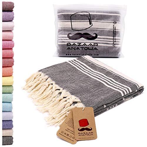 Bazaar Anatolia Stripe Turkish Towel 100% Cotton Peshtemal 75x38 XL Oversized Bath Beach Sand Free Travel Shower Bathroom Pestemal Soft Thin...