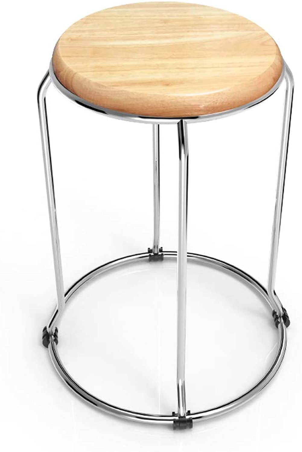 SYFO Household Wood Stool, Stainless Steel Stool, Simple Dining Table Stool, Fashion shoes Chair Stool