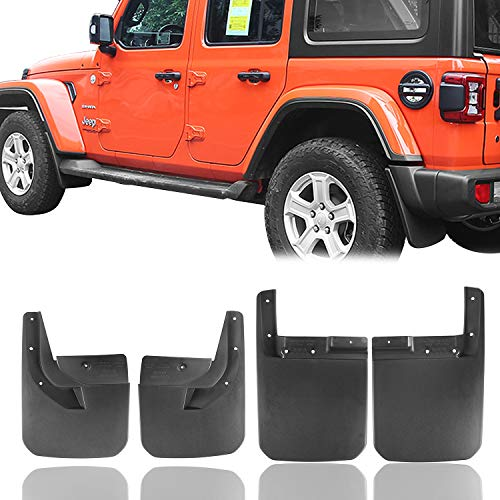 Hooke Road Fender Flares Front & Rear Mud Guards Kit for 2018-2020 Jeep Wrangler JL Sahara Sport Sports (Exclude Rubicon)