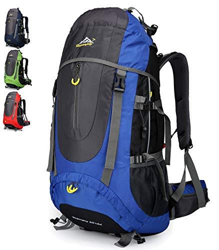 Doshwin 70L Trekkingrucksack Campingrucksack Reiserucksack Wanderrucksack Großer Rucksack für Damen Herren (Blau)