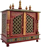 TAM Creatio Small Wooden Pooja Mandir |Indian| |Hindu| |Decoration| |Puja| |Cabinet| |Temple| |Bhagwan| |Stand| |Mandapam| |Wall| |Hanging| Decor for Home in USA (Red Green)