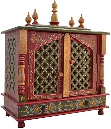 TAM Creatio Pooja Mandir de madera | Indio| |Hindu| | | | | Puja | | | | templo| | | Bhagwan| | soporte| | mandapam| | | pared | | colgar | decoración para el hogar en Estados Unidos (rojo verde)
