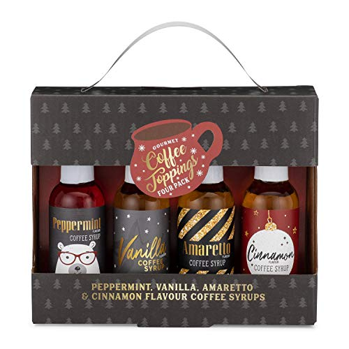 Thoughtfully Gifts, Gourmet Coffee Toppings Gift Set, Includes 4 Delicious Flavors Like Cinnamon, Peppermint and More, Set of 4
