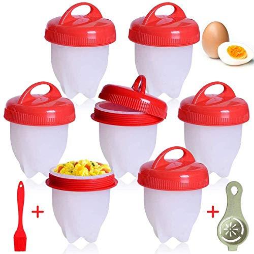 AOOPOO Cuociuova, 9 PCS Cuoci Uova Sode Senza Guscio, Silicone Cuociuova Bolli Uovo Fornello in Camicia Antiaderente Casa e Cucina Accessori per Uova Sode Egg Cooker BPA Free