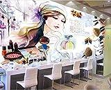 LONGYUCHEN Mural De Seda 3D Personalizado Patrón Creativo Acuarela Belleza Adecuado Para Tienda De Uñas Tienda De Maquillaje Peluquería Tienda De Ropa Fondo De Pantalla Wallpaper,250Cm(H)×360Cm(W)