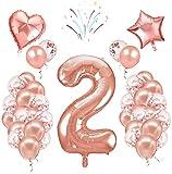 Decoración de globos de cumpleaños, número[2], 40 pulgadas, oro rosa, 24 globos de confeti de látex, fiesta de cumpleaños boda aniversario decoración conjunto