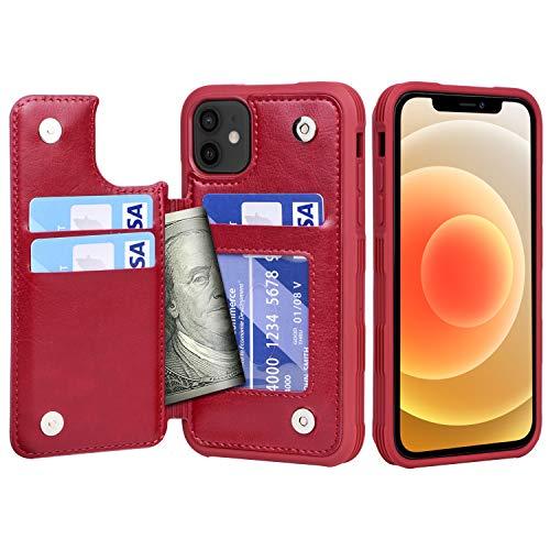 Migeec Funda para iPhone 12 / iPhone 12 Pro - Funda Tipo Cartera con Bolsillos para Tarjetero [a Prueba de Golpes] Funda con Tapa Trasera para iPhone 12 / iPhone 12 Pro de 6,1 Pulgadas - Rojo