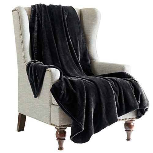 SCM Kuscheldecke XXL Schwarz Wohndecke 280GSM Tagesdecke Decke Flauschig Weich und Angenehm Warm Überwurf Sofadecke mit Premium Cashmere Feeling, 200x240cm