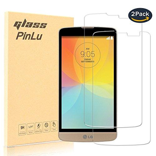 pinlu [2 Pack] Protector de Pantalla de Cristal para LG L Bello (5.0pulgadas) Protector Cristal Vidrio Templado para LG L Bello [9H/2.5D/0.26mm, 99% Transparente]