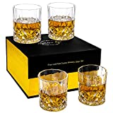 Lighten Life Crystal Whiskey Glass Set 4,Double Old Fashioned Glass in Gift Box,Thick Bottom Scotch Glass for Cognac,Cocktail,Rocks Glass for Birthday Christmas Anniversary,Drinking Glasses for men