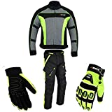 Motorradkombi Biker Motorrad Textil Kombi wasserdichte Jacke, Hosen (M, Neon Grün)