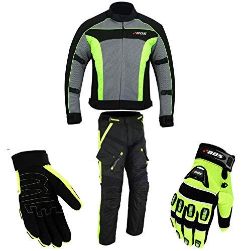 Motorradkombi Biker Motorrad Textil Kombi wasserdichte Jacke, Hosen (L, Neon Grün)