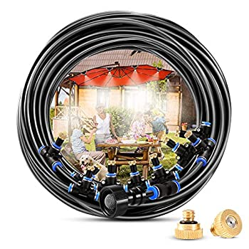 Outdoor Misting System 50 FT Misting Hose + 18 Mist Nozzles Misters for Outside Patio Producing Cool Mist in Greenhouse Garden Pool Trampoline Canopy and Porch Mister Cooling System Kit