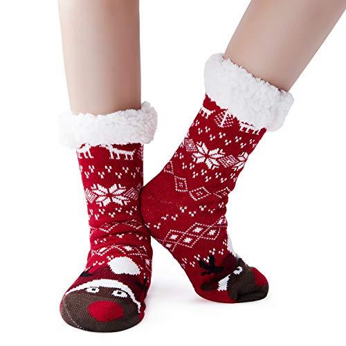 ALISISTER Schöne Weihnachten Kuschelsocken mit ABS Sohle Damen Herren Winter Warme Niedliche Rentier Socken Stoppersocken Hausschuhe Grau mit 3D Kuschlig Tier Motiv