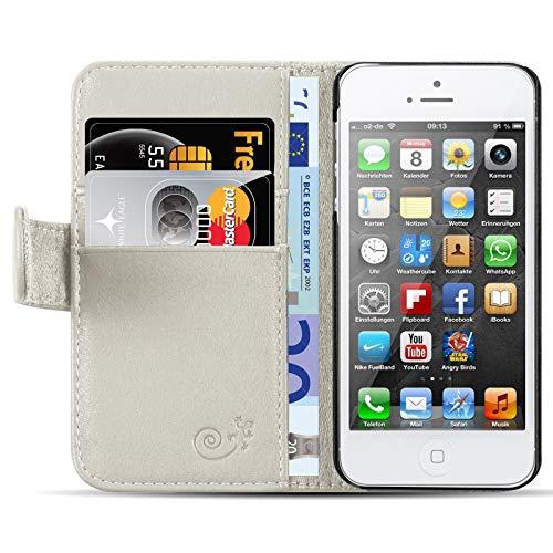 JammyLizarD Lederhülle für iPhone SE & iPhone 5 / 5s | Ledertasche [ Classic Wallet Tasche Series ] Schimmer Leder Book Hülle Hülle Flip Cover Schutzhülle mit Kartenfach, Champagner