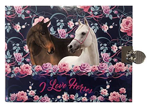 I Love Horses Tagebuch Pferde Motiv mit Schloß Geheimes Buch Poesiealbum Pferd Pony