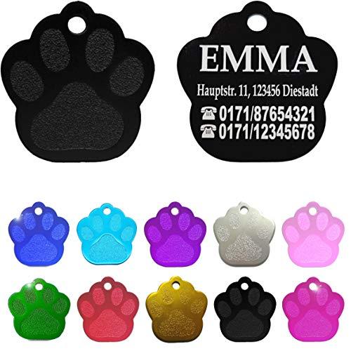 Iberiagifts - Hundemarke Pfote mit Gravur für kleine bis mittelgroße Hunde und Katzen - Plakette Katzenmarke graviert und personalisiert (Schwarz)