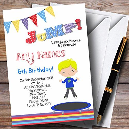 Kinderfeest nodigt Blonde Jongen Trampoline Kids Verjaardagsfeestje Uitnodigingen met Enveloppen uit - Elke aangepaste tekst voor elke gelegenheid 50 Cards & Envelopes