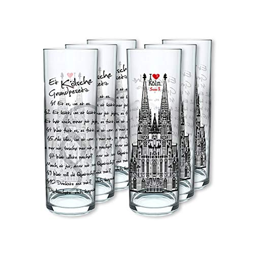 I LOVE KÖLN Kölschglas Grundgesetz 6er Pack, Gläser mit dem Kölner Grundgesetz, Biergläser mit Druck à 0,2ml