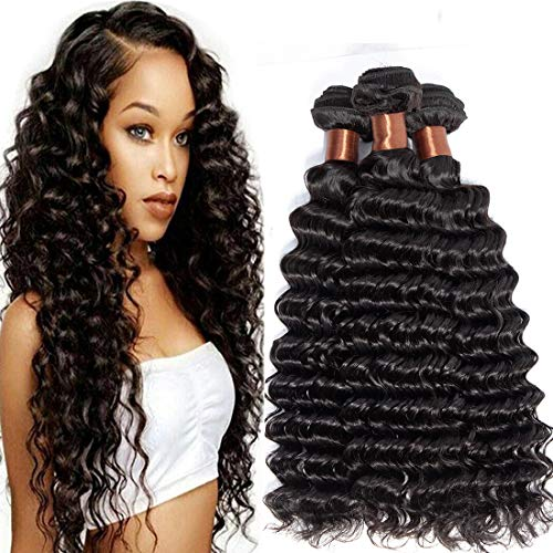 BLACKMOON HAIR Unprocessed Peruvian Virgin Hair Deep Wave 3 Bundles 16 16 16inch Cheap Virgin Human Hair Extensions Natural Black Color (100+/-5g)/bundle Can be Dyed and Bleached