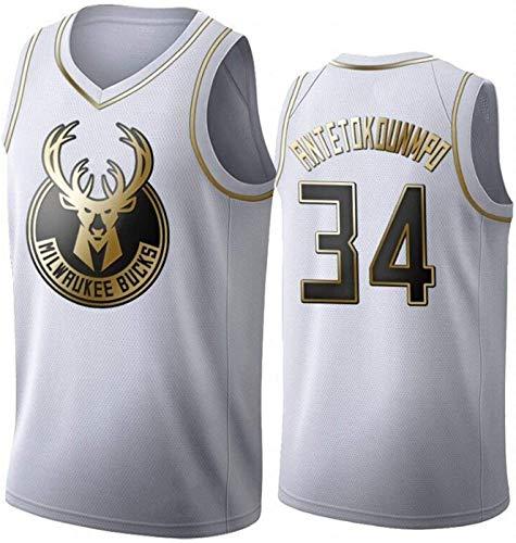 ZEH Jerséis de baloncesto para hombre - Giannis Antetokounmpo Milwaukee Bucks 34 Jerseys, unisex, sin mangas, camisetas bordadas de malla de baloncesto (talla M: XXL) FACAI (talla XL