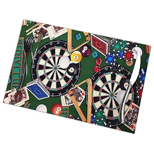 Mabell Game Room Billiards Darts Cards Table Placemats for Dining Table,Washable Table mats Heat-Resistant(12x18 inch) Set of 6