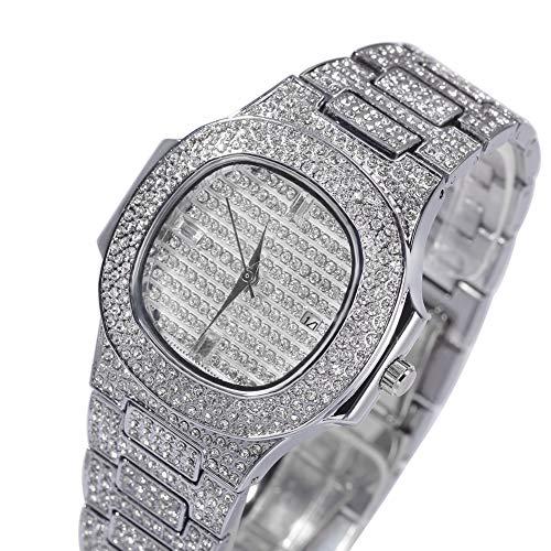 Reloj de alta gama con diamantes de estilo hip hop. Reloj casual grande, joyería, regalo de joyería para hombres y mujeres (oro, plata, oro rosa)