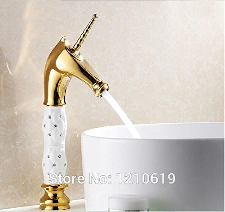 Retro Deluxe FaucetingNewly uns Kostenloser Versand Golden Finish Bad Kunst Waschbecken Wasserhahn Diamante Mischbatterie Pferdekopf Auswurfkrümmer aus massivem Messing Deck montiert