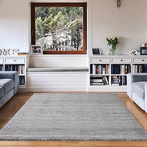 VIMODA Alfombra Moderna de Pelo Corto, Jaspeada, Material Certificado según Oeko Tex, de Color sólido, fácil de cuidar en Gris, Maße:80 x 150 cm