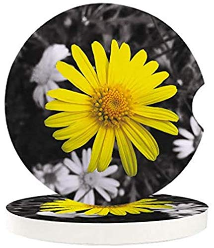 Posavasos absorbentes para coche, 4 unidades, fondo blanco y negro, flor amarilla, con una muesca de dedo para una fácil extracción del portavasos automático