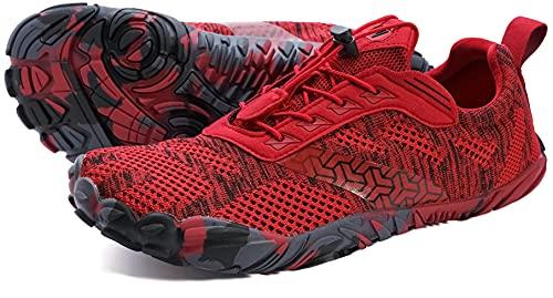 WHITIN Zapatilla Minimalista de Barefoot Trail Running para Mujer Five Fingers Fivefingers Zapato Descalzo Correr Deportivas Fitness Gimnasio Calzado Rojo 39 EU