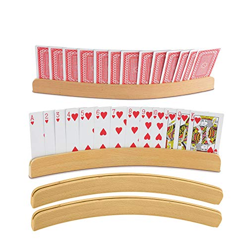 "Playing Card Holders (Set of 4) 14"" Curved Shape- Travel & Durable"