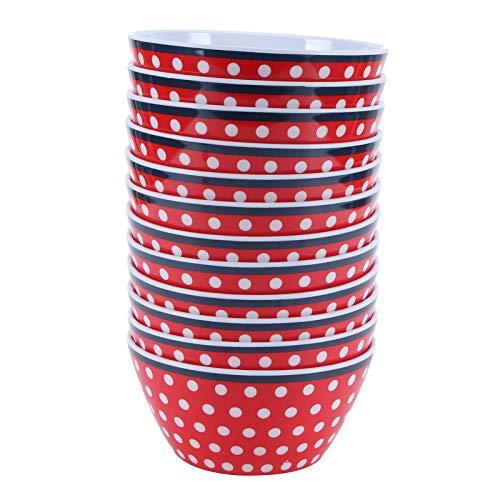 Tazón de comida, hermoso recipiente de comida apilable de porcelana de imitación duradero 12 piezas para Gifs de cocina para recipiente(Red dots)