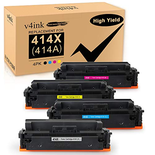 v4ink Compatible Toner Replacement for HP 414X W2020X M454dw M479fdw 4 Packs for use in HP Color Laserjet Pro MFP M479fdw M479fdn M454dw M454 M454dn Black Cyan Yellow Magenta Printer