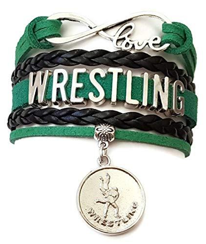 Kit's Kiss Wrestling Armband, Wrestling Schmuck, Wrestling Mom Armband, Wrestling Geschenk, Leder Armband, Love Infinity Armband (grün und schwarz)
