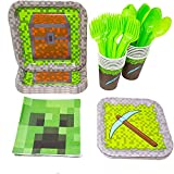 Blue Orchards Mining Fun Party Supplies Packs (113+ Pieces for 16 Guests!), Mining Inspired, Pixel Party Supplies, Birthday Parties