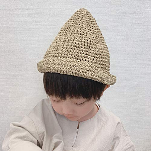どんぐり麦わら帽子 susabi おでかけ 折りたたみ ハンドメイド 手作り とんがり (ナチュラル, 50cm ベビー)