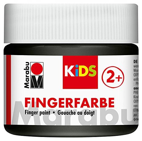 Marabu 03030050073 - Kids Fingerfarbe schwarz 100 ml, Fingermalfarbe auf Wasserbasis, parabenfrei, vegan, laktosefrei, glutenfrei, geeignet zum Malen in Kindergarten, Schule, Therapie und zu Hause