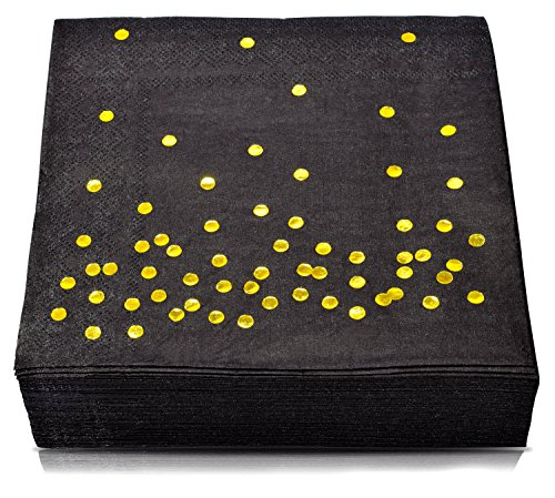 TROLIR Luncheon Napkins, Black with Gold Dots, 3-ply, Pack of 50 Disposable Paper Napkins 6.5x6.5 inch, Stamped with Sparkly Gold Foil Dots, Ideal for Wedding, Party, Birthday, Dinner, Lunch, Cocktail